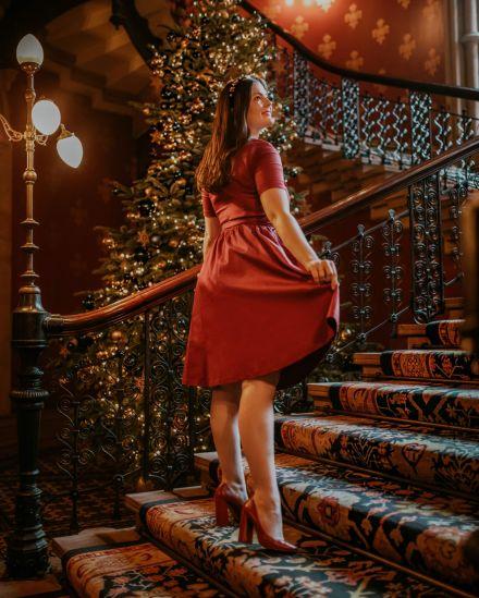Kate Winney Vintage Lindybop Dress Christmas St Pancras Stairs London