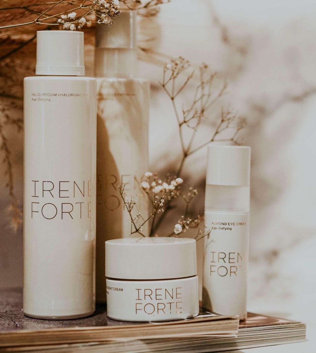 Irene Forte Skincare Review Kate Winney Hibiscus Night Cream Helichrysum Hyaluronic Toner Almond Cleansing Milk Eye Cream