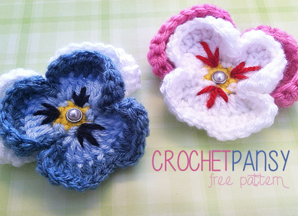 photograph about Free Printable Crochet Patterns titled No cost Habit: Pansy Flower Crochet Routine Minimal Monkeys