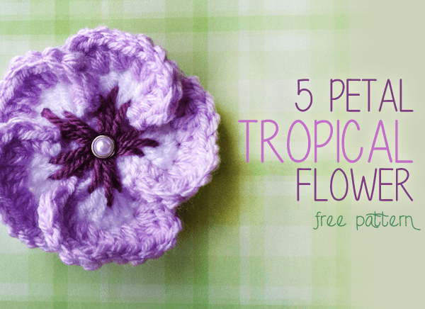 5 Petal Tropical Flower Crochet Pattern Free Pattern Little
