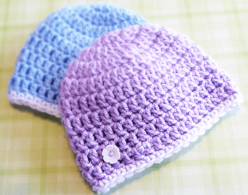 Crochet book, Vintage Beginner Crochet baby hat pattern with flower sizes from newborn to adult