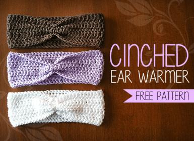 Cinched Ear Warmer  |  Free Ear Warmer Headband Crochet Pattern by Little Monkeys Crochet