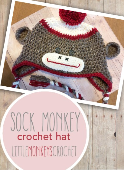 Sock Monkey Crochet Hat  |  Free 6-12m Pattern by Little Monkeys Crochet