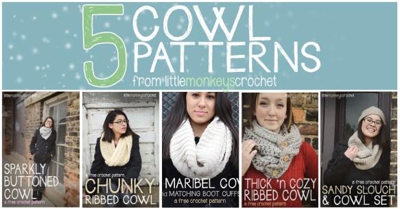5 Free Cowl Crochet Patterns  |  Little Monkeys Crochet