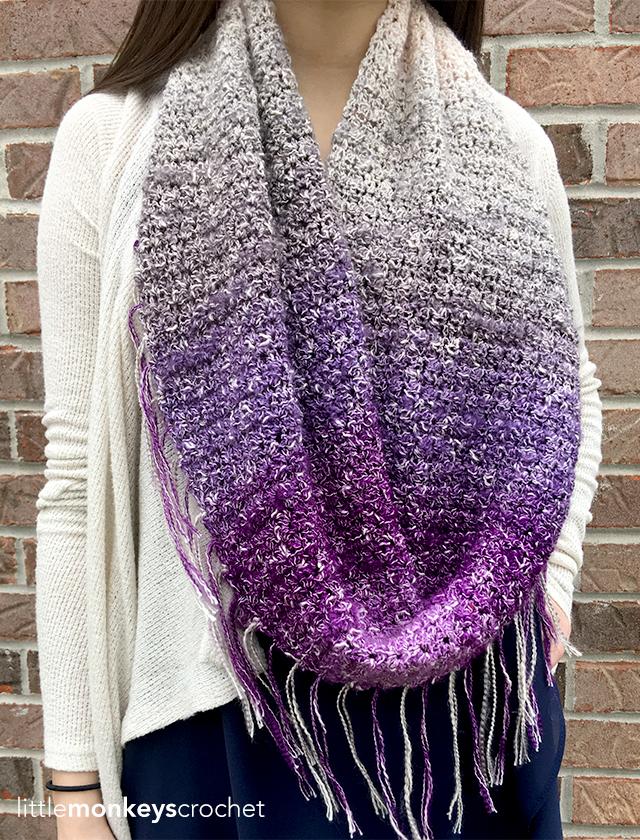 Sonoma Scarf Crochet Pattern | Free Fringe Infinity Scarf Crochet Pattern by Little Monkeys Crochet