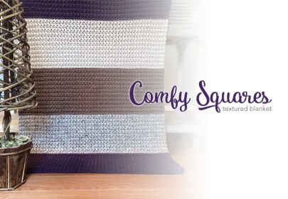 blanket-libComfy Squares Textured Blanket Crochet Pattern  |  Free Lap Blanket Crochet Pattern by Little Monkeys Crochetrary