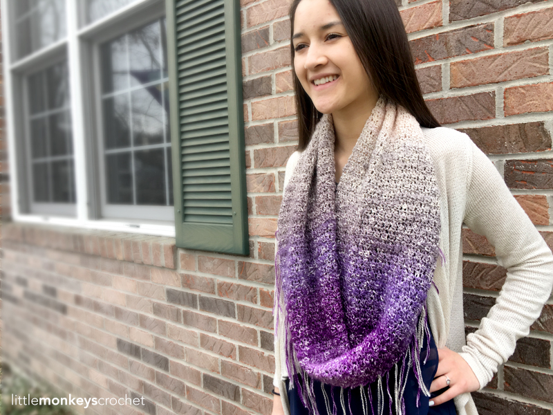 Sonoma Scarf Crochet Pattern | Free Fringe Infinity Scarf Crochet Pattern by Little Monkeys Crochet