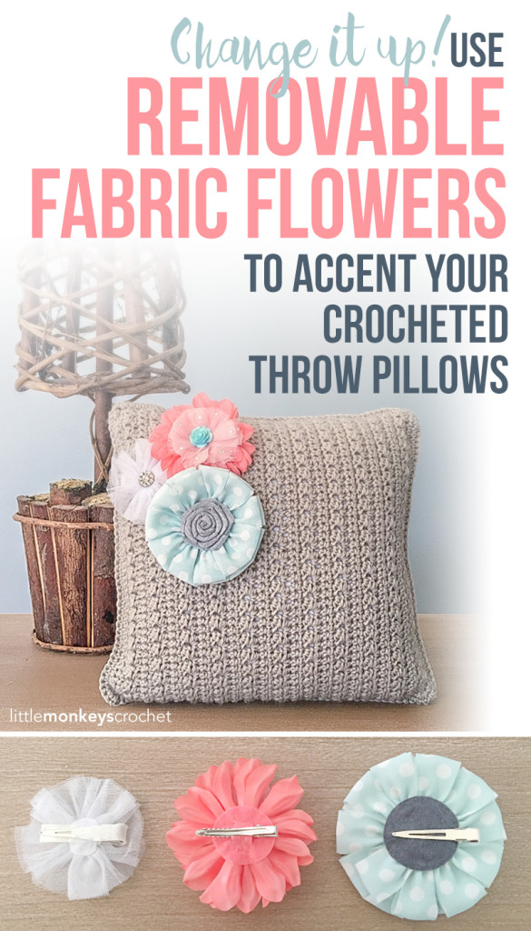 Throw Pillow with Removable Accent Flowers Crochet Pattern  |  Free Flower Throw Pillow Crochet Pattern by Little Monkeys Crochet
