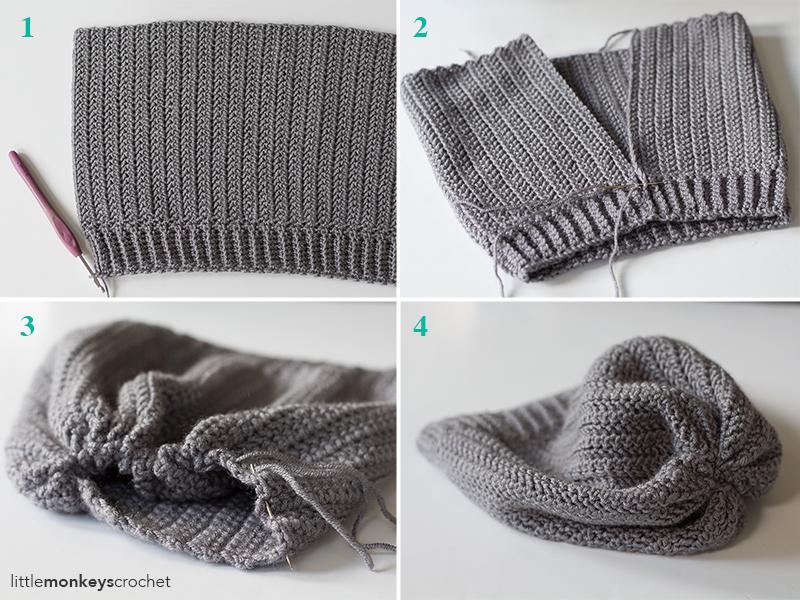 Herringbone Slouch Hat Crochet Pattern  |  Free slouchy hat crochet pattern by Little Monkeys Crochet