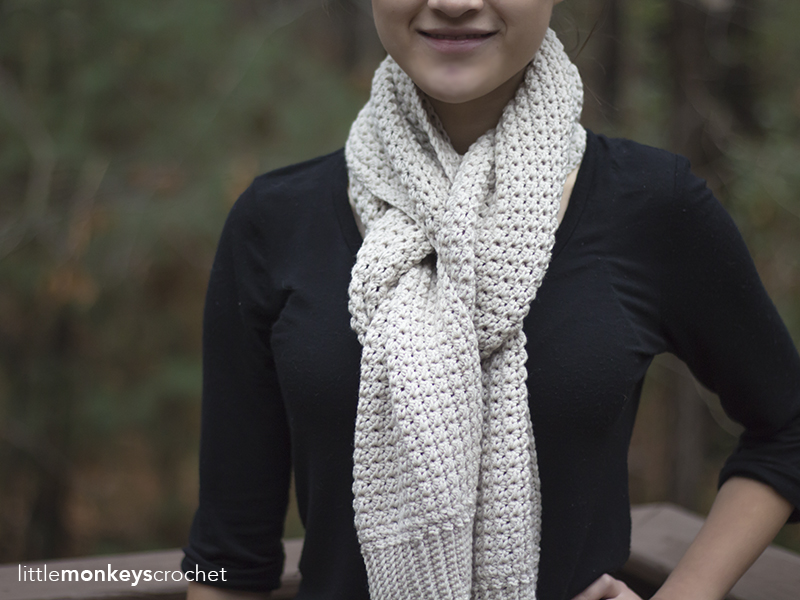 Elena Scarf Crochet Pattern | Free classic winter scarf crochet pattern by Little Monkeys Crochet