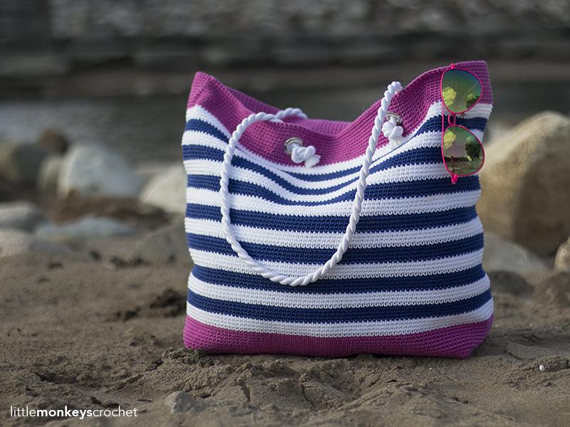 Handmade Crochet Royal Blue Beach Bag wWhite Stars