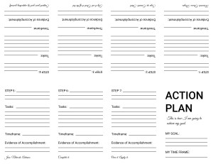 Goal setting, action plan template, one page foldable, print and fill