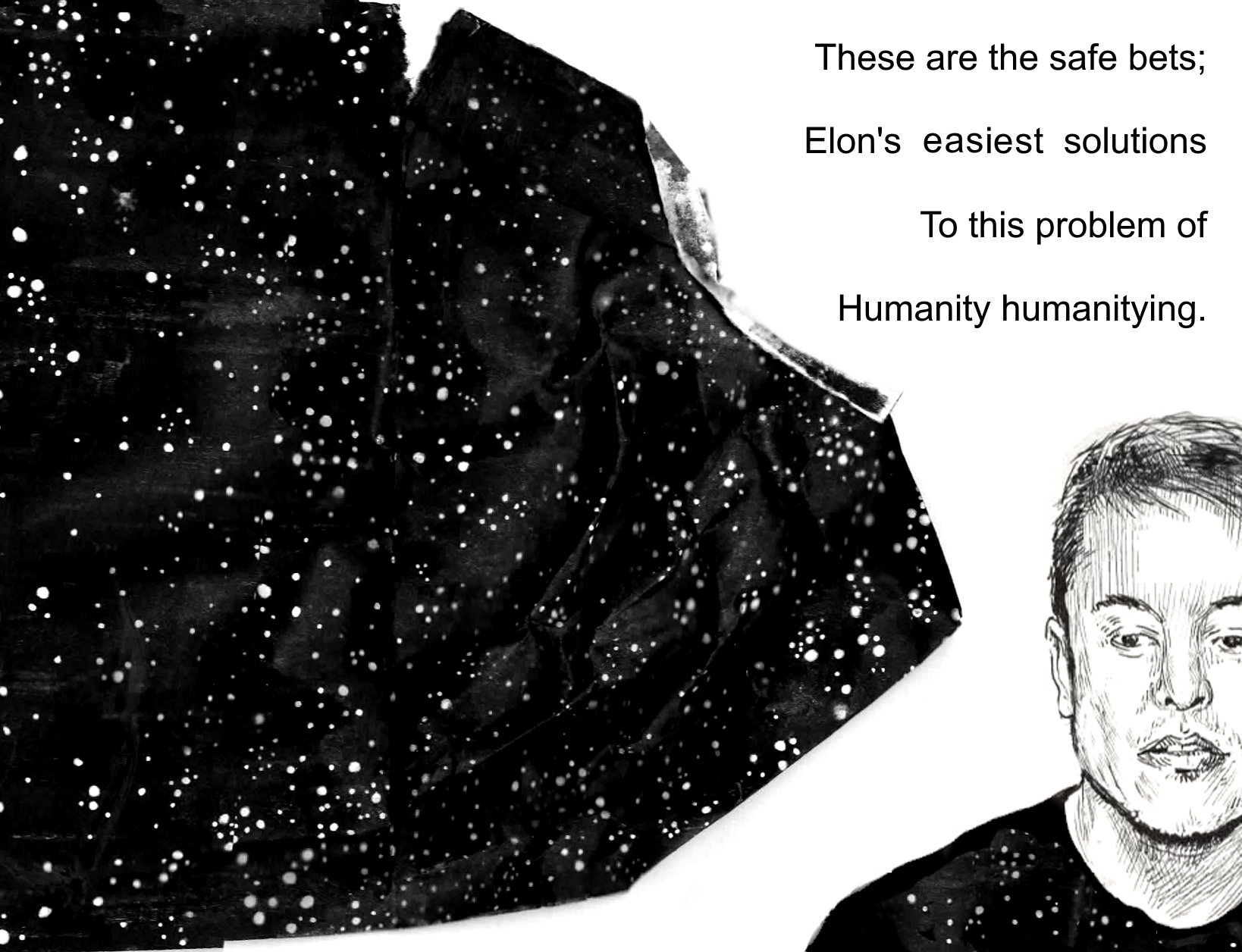Elon Musk drawing pocket zine Xanadu pagespread