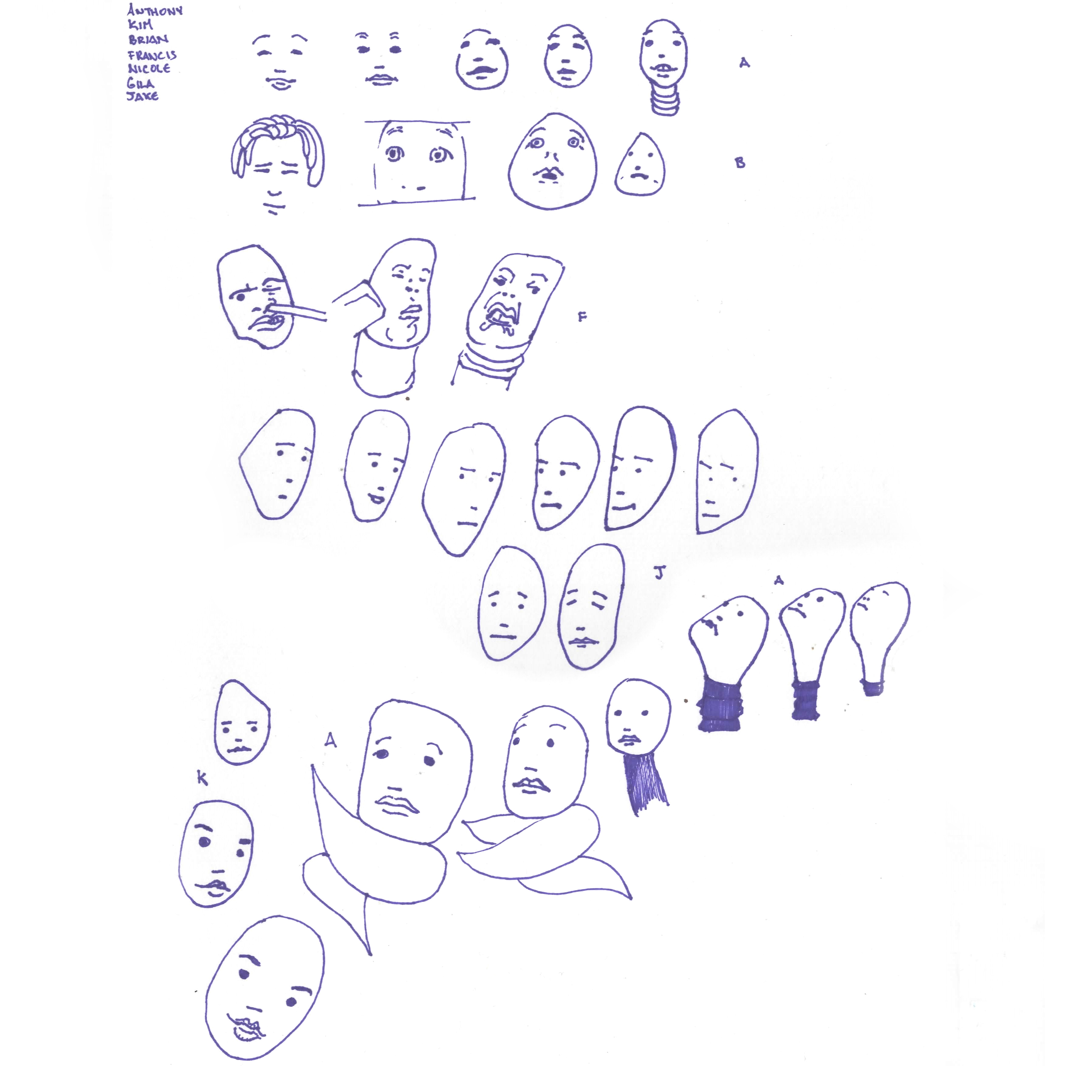 expressions in oddly shaped faces