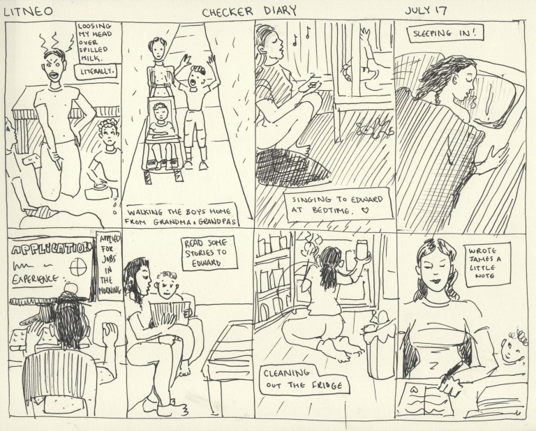 Online Comic Journal - A Day in the Life of Me Checker Diary Style