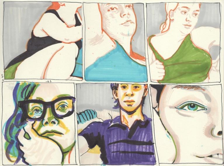 comic strip portrait drawing session