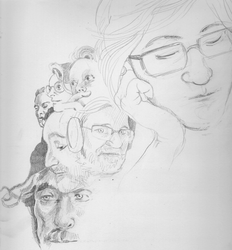 Multilayers portraits in pencil