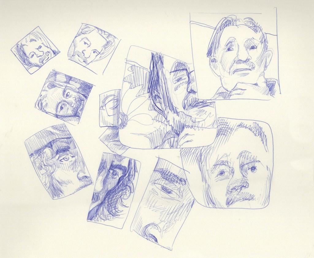 Ten Minute Poses - 3 portraits split between 11 panels