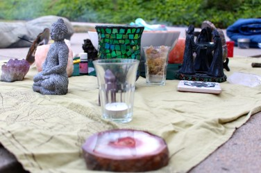 This is a picture of the altar from the first new moon circle I attended.