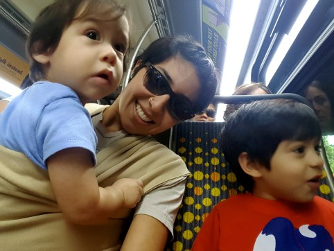 My Nuggets and I on the bus. Z Nugg's first ride.