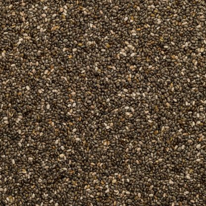 Close up of black organic chia seeds.