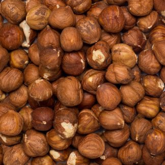 Close up of organic hazelnuts.