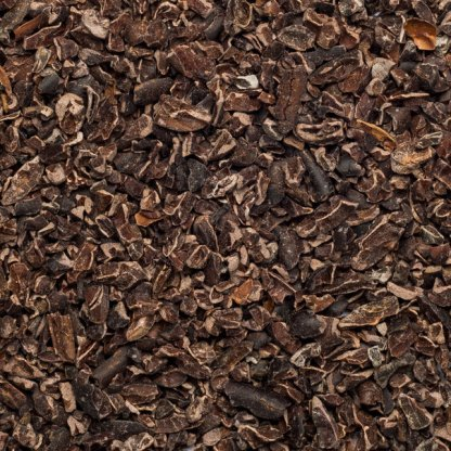 Close up of cocoa nibs raw organic