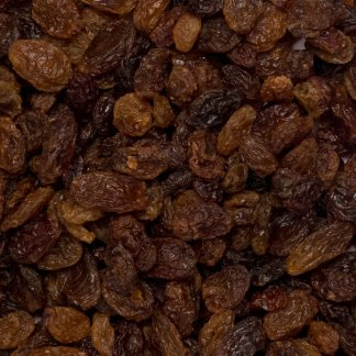 Close up of organic sultana raisins.