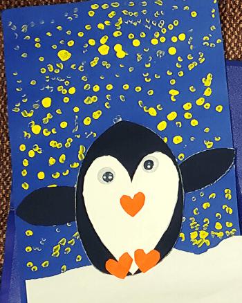 Kindergarten penguin craft finished product