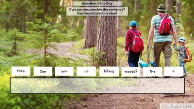 Seesaw: Sentence scramble - camping theme