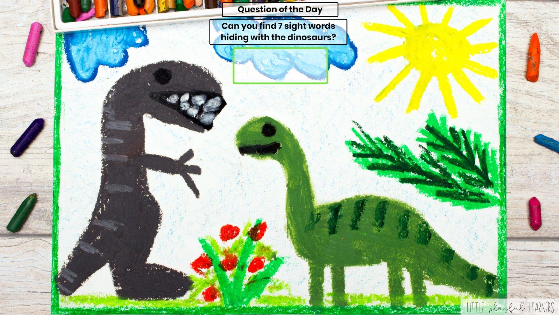 Seesaw: Sight word hunt - dinosaur theme