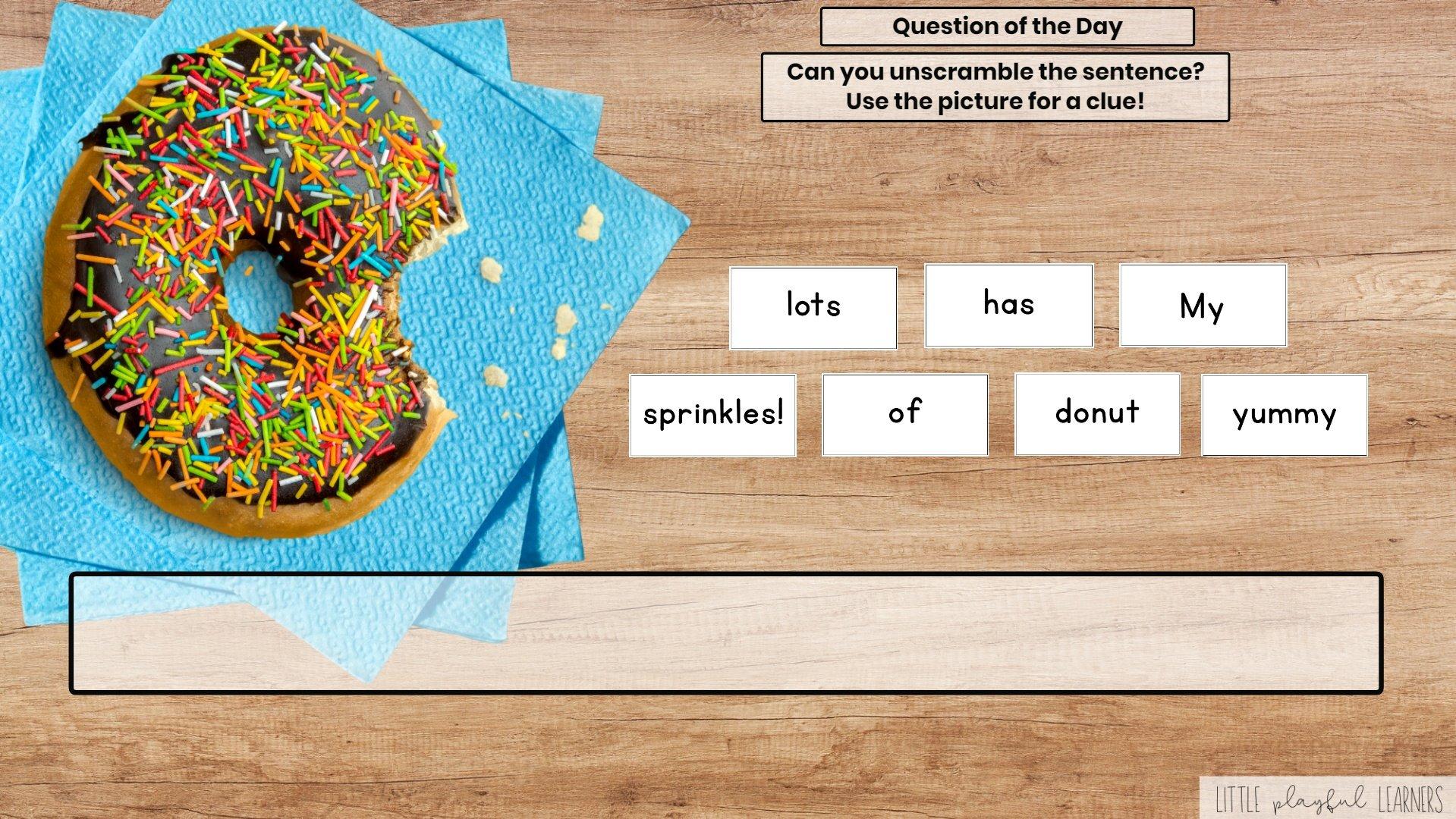 Seesaw: Sentence scramble - donut theme
