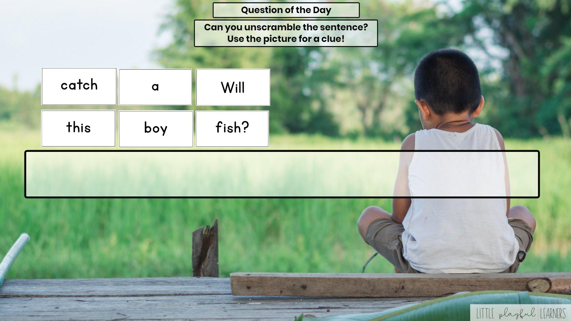 Seesaw: Sentence scramble - fishing theme