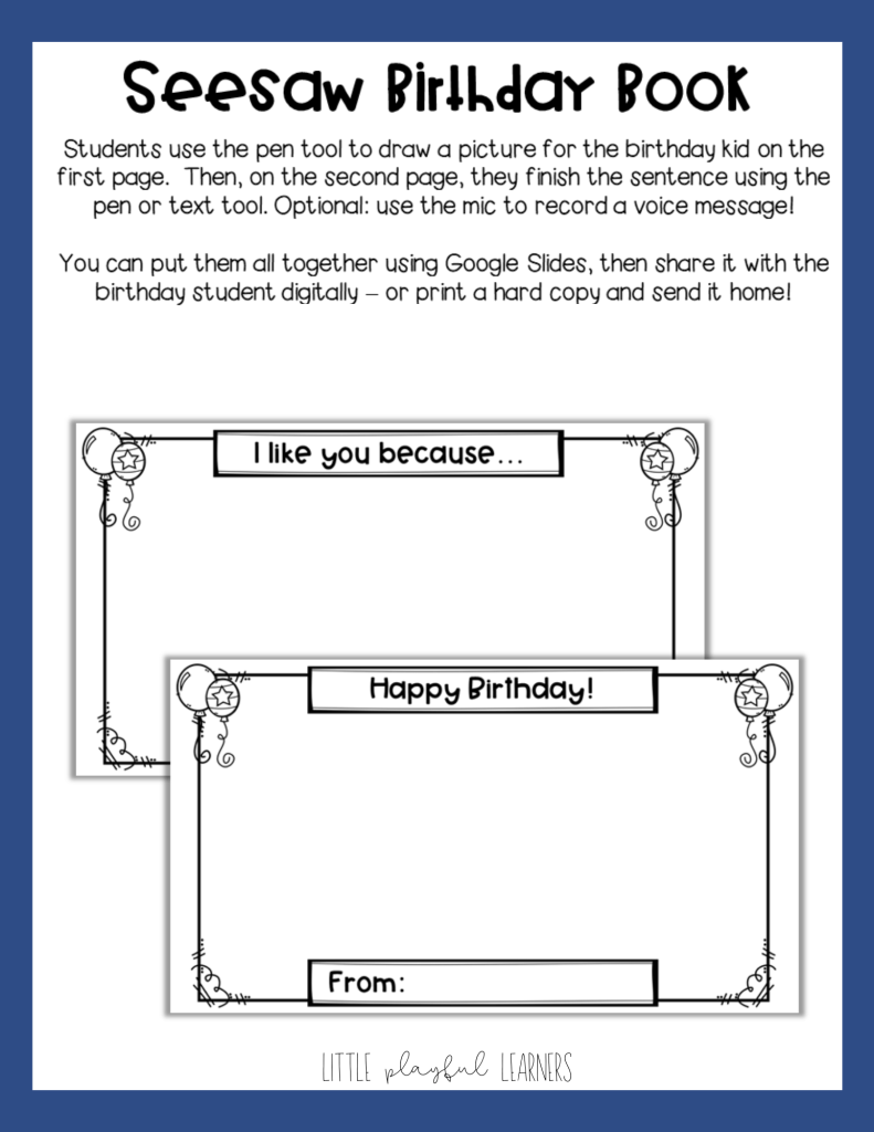 Seesaw: Virtual Birthday book for celebrating birthdays in the classroom during distance learning