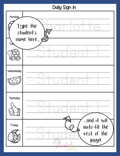 Daily Sign-in Sheet for kindergarten or preschool