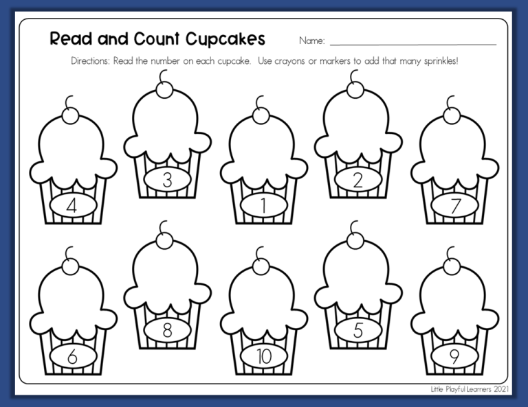 Read and Count Cupcakes free printable