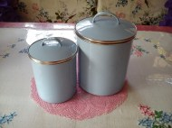 pastel blue enamel storage tins, 99p each!