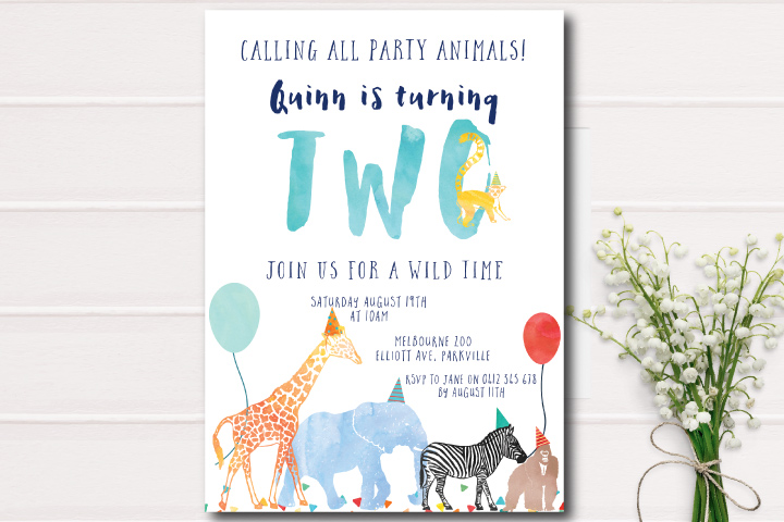 Little Paperie-birthday invitations-wild animals-animal inviation-birthday party
