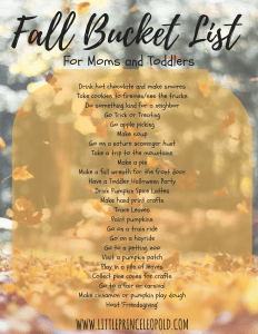 fall bucket list for moms and toddlers