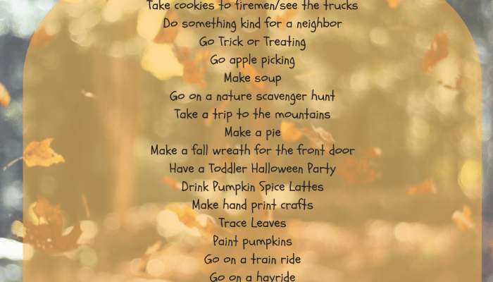 2017 Fall Bucket List for Moms and Toddlers