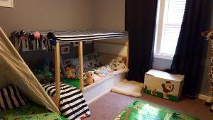 canopy bed-floor bed-montessori- toddler room