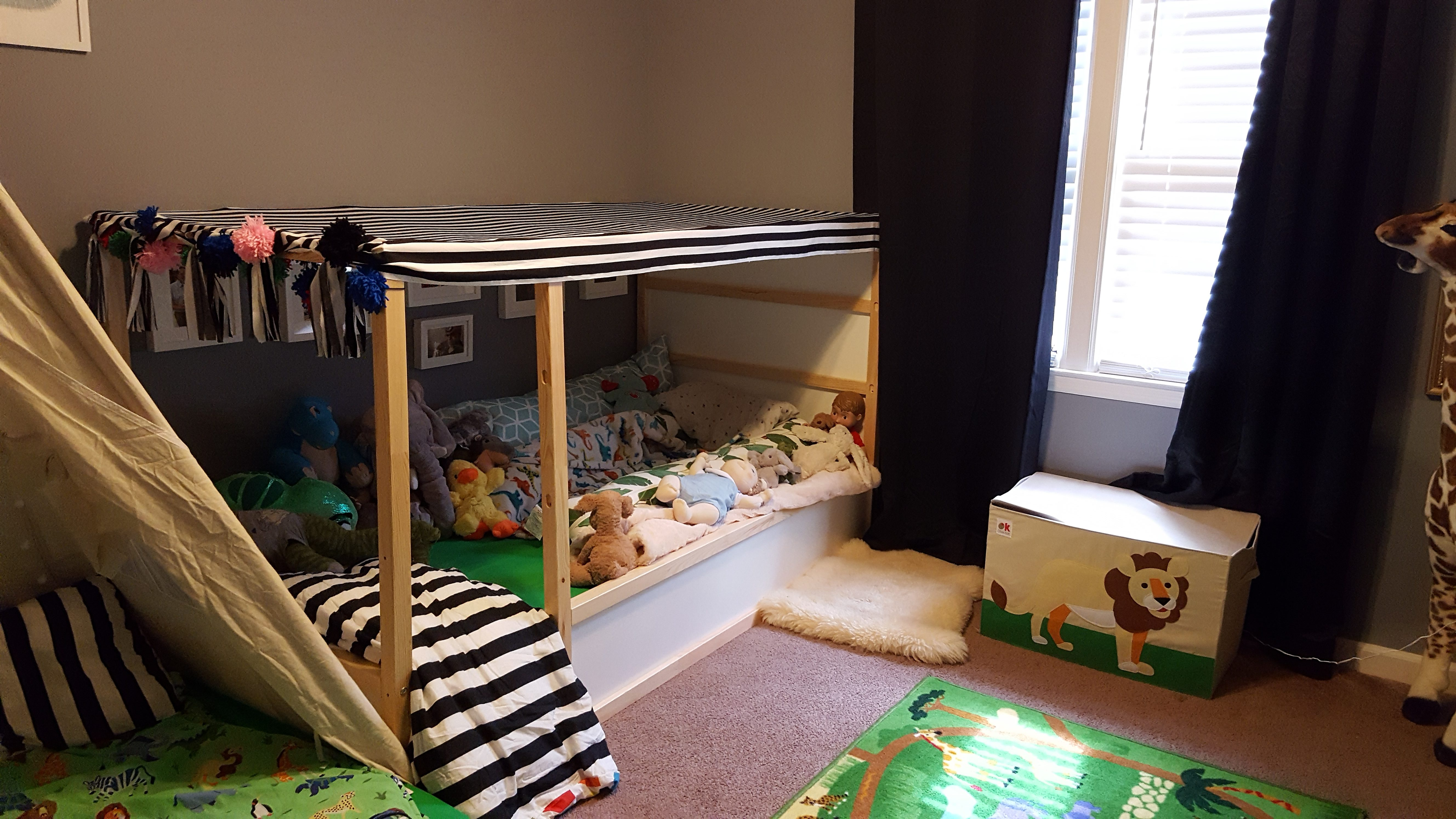 canopy bed-floor bed-montessori- toddler room