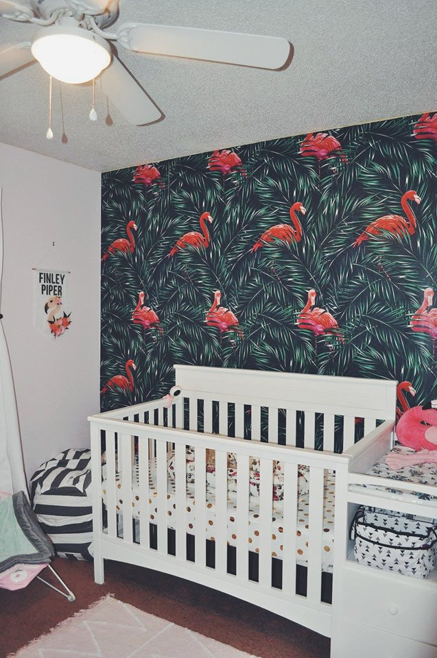 nursery-flamingo room-flamingo nursery-girl room-accent wall-baby crib-delta children-changing table