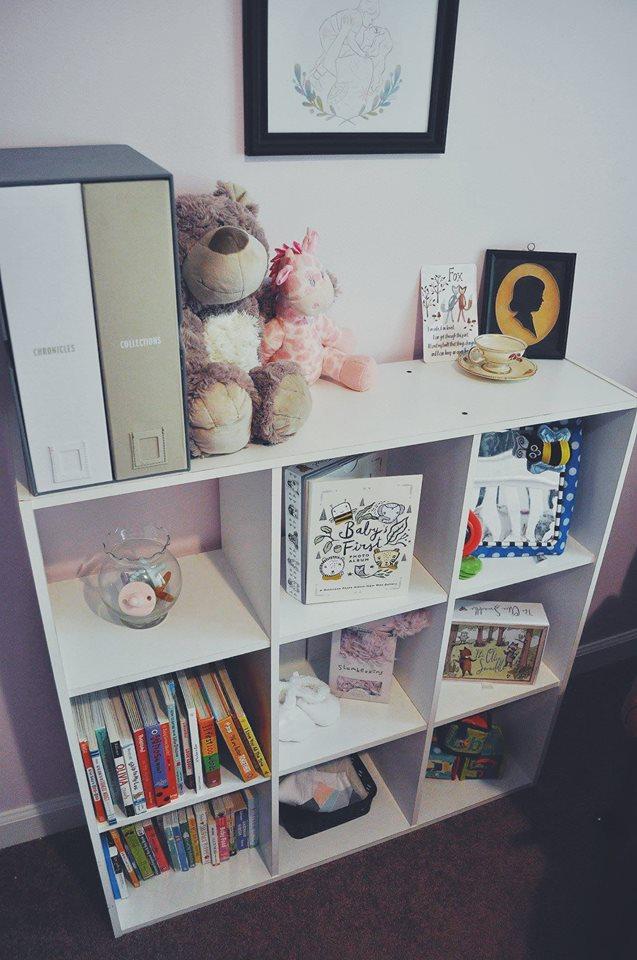 nursery-flamingo room-flamingo nursery-girl room-accent wall-bookshelf