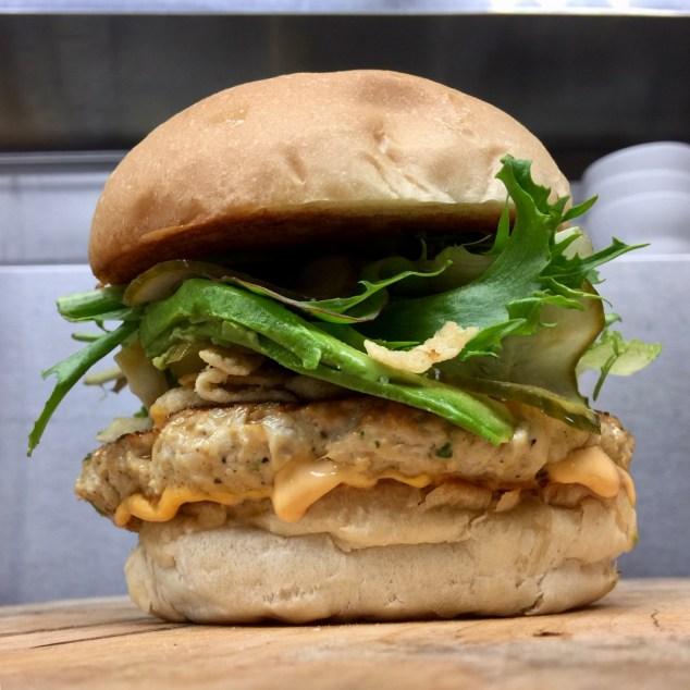 Little Pub Chicken Potsticker Burger: