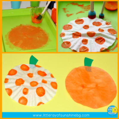 Pumpkin fun with coffee filter painted pumpkins