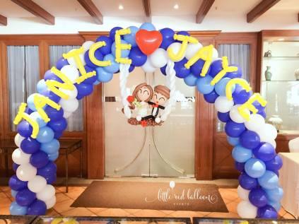 wedding couple balloon arch