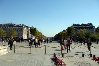 Looking down on Champs-Élysées from Arc de Triomphe.