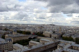 Top of Notre Dame Cathedral with Sacre Coeur in the background.