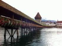 The old wooden chapel bridge. (Lucerne, Switzerland)